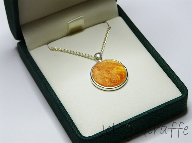 Red and Yellow Round Enamel Pendant