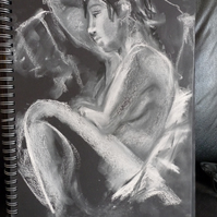 White pastel and charcoal life drawing