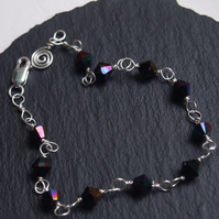 Sterling silver and Swarovski handcrafted bracelet