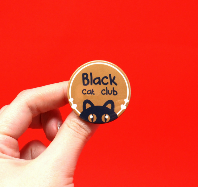 Black cat club badge, cat badge, black cat magnet, black cat pin brooch