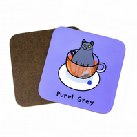 Purrl grey coaster, cat coaster, cat place mat, tea coaster, tea place mat, mat,