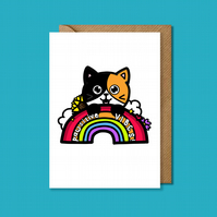 Pawsitive vibes card, cute cat card, positivity card