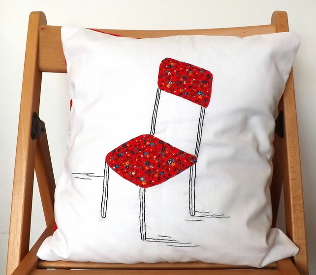 Red Chair Vintage Floral Fabric Embroidered Cushion Cover