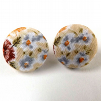 Tiny Flowers Floral Pattern Button Earrings 15mm
