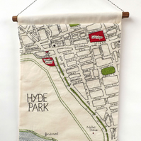 Marble Arch - London Embroidered Map Wall Hanging