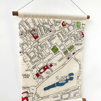 Picadilly London Embroidered Map Wall Hanging