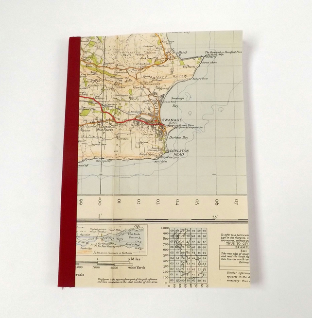 Bournemouth 1940 (5) Swanage - Recycled Vintage Map Notebook