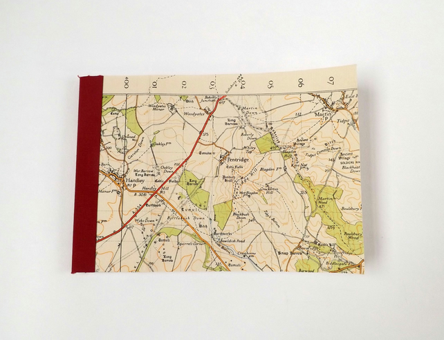 Bournemouth 1940 (7) Pentridge - Recycled Vintage Map Pocket Notebook