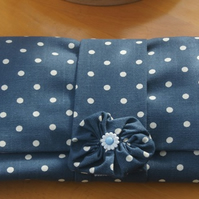 Blue Polka Dot Clutch Bag