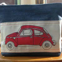 Vintage Red VW Beetle Denim Wash Bag - Make Up Bag