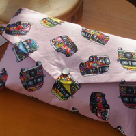 Camper-van Print Pink Cotton Mini Clutch Bag