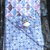 Spring Sale Blue and Lilac Fan Print Scarf and Brooch Set