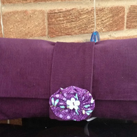 Purple Cord Clutch Bag