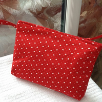 Red Heart Print Make up - Wash Bag