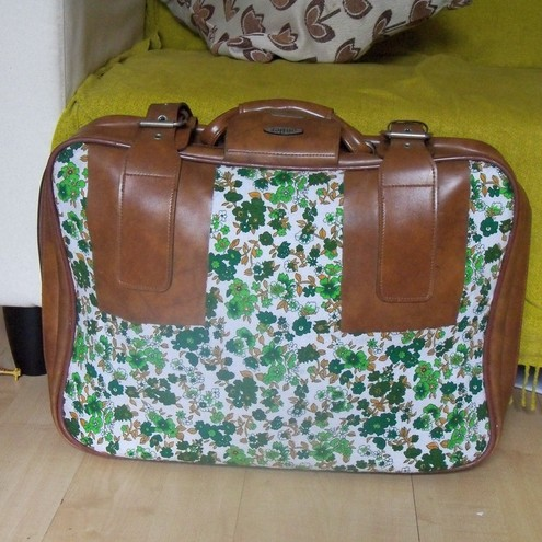 Green Flower Print Suitcase