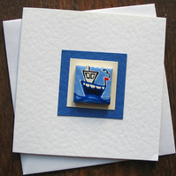 Fishing Boat Card, Nautical Card, Seaside Greeting Card, Blank Card, Magnet Card