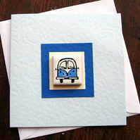 Campervan Card, Birthday Card, Greeting Card, Blank Card, Blue, Red, Combi Card