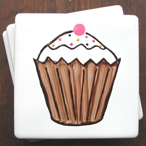Brown Cupcake Coaster
