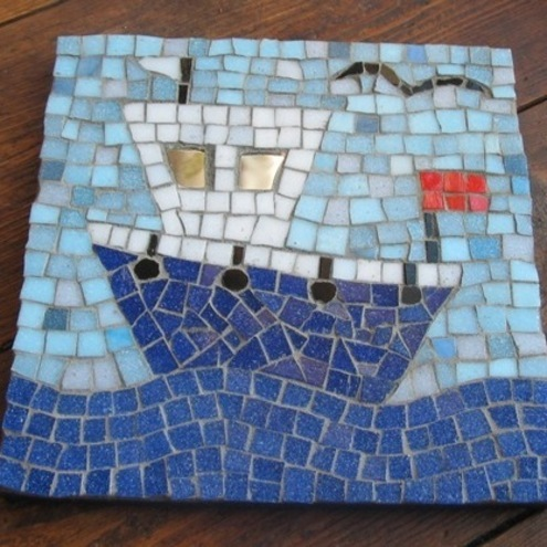 Mosaic Fishing Boat Picture