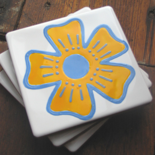 Blue and Yellow Flower Coaster