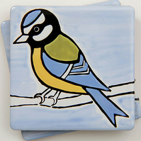 Blue Tit Coaster, Ceramic Coaster, Placemats, Homewares, Birds, Personalised