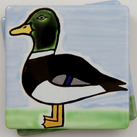 SALE, Mallard Coaster, Ceramic Coaster, Placemats, Homewares, Birds