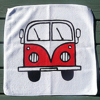 Campervan Face Cloth, Combi Flannel, Bath Accessories, Blue, Red, Yellow