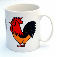 Cockerel Mug, Chicken Mug, Bird Mug, Tea Mug, Men's Gift, Gifts for Mum