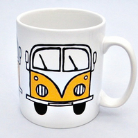Yellow Campervan Mug, Combi Mug, Tea Mug, Coffee Mug, Men's Gift, For Him,