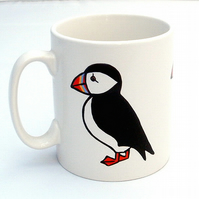 Puffin Mug, Bird Mug, Tea Mug, Men's Gift, Mother's Day Gift, Children's Gift
