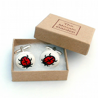 SALE, Ladybird Cufflinks, Men's Gifts, Gift for Dad, For Him, Wedding Cufflinks
