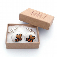 Bee Cufflinks, Men's Gifts, Gift for Dad, For Him, Wedding Cufflinks,