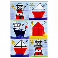 Seaside Art Print, Boat Print, Lighthouse Print, Beach Huts, Mounted Print