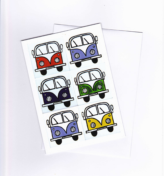 Campervan Card, Birthday Card, Greeting Card, Blank Card, Combi Card,