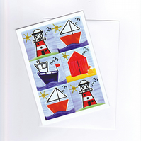Seaside Greeting Card, Nautical Card, Birthday Card, Blank Card