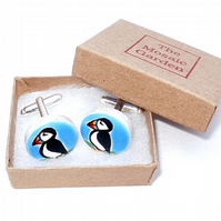 Puffin Cufflinks, Bird Cufflinks, Gift for Dad, For Him, Wedding Cufflinks