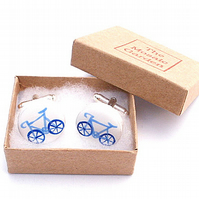 Bicycle Cufflinks, Bike Cufflinks, Gift for Dad, Wedding Cufflinks, Black, Blue