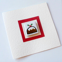 Christmas Pudding Card with Magnet, Xmas card, Greeting card,