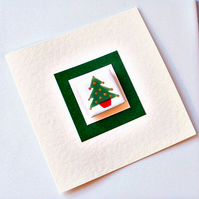Christmas Tree Card with Magnet, Xmas card, Greeting card