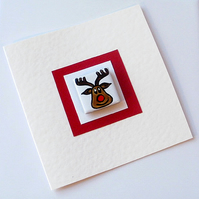Rudolph Christmas Card with Magnet, Reindeer Card, Xmas Card,