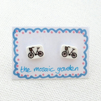 Bicycle Earrings, Bike Studs, Gift for Cyclist, For Her, Cycling
