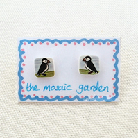 Puffin Earrings, Puffin Studs, Shrink Plastic, Bird Earrings, For Her, Jewellery