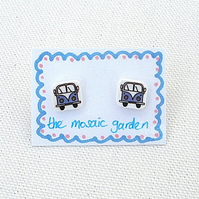 Campervan Earrings, Combi Studs, Splitscreen, For Her, Blue