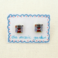 Lighthouse Earrings, Lighthouse Studs, Seaside, For Her, Nautical