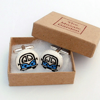 Campervan Cufflinks Blue, Combi, Wedding Cufflinks, For Him, Groom, Splitscreen