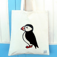 Puffin Bag, Tote Bag, Bird Bag, Puffin Tote, Bird Tote, Cotton Tote