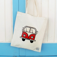 Campervan Bag Red, Tote Bag, Seaside Tote, Combi Tote, Cotton Tote, Splitscreen