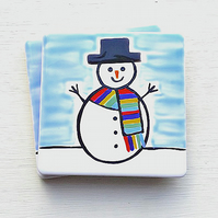 Snowman Christmas Coaster, Christmas Decoration, Xmas