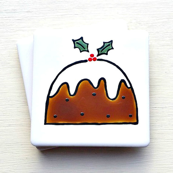 Christmas Pudding Coaster, Christmas Decoration, Xmas