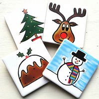 Christmas Coasters Set of 4, Rudolph, Christmas Tree, Snowman, Christmas Pudding